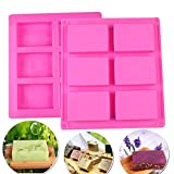 6 Hohlräume Silikonform Seifenformen Rechteckig Seifenform Kuchenform Kuchen DIY Form Ice Cube Tablett 2 Stück Rosa
