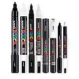 POSCA Stifteset, schwarz und weiß, dünne bis mitteldicke Spitze, 8 Stifte (PC-5M, PC-3M, PC-1M, PC-1MR)