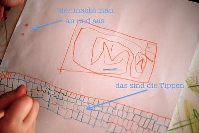 Die Tippen - das Kind hat sich einen Computer gemalt. | waseigenes.com