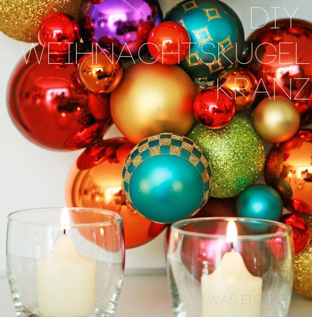diy einen weihnachtskugelkranz selber machen. Black Bedroom Furniture Sets. Home Design Ideas