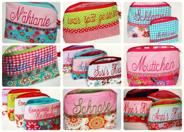 Best of Kundenwünsche 2010 | Schminktäschchen | beste Kundenwünsche | Worttäschchen, bestickte Täschchen, waseigenes.com Shop DANKE