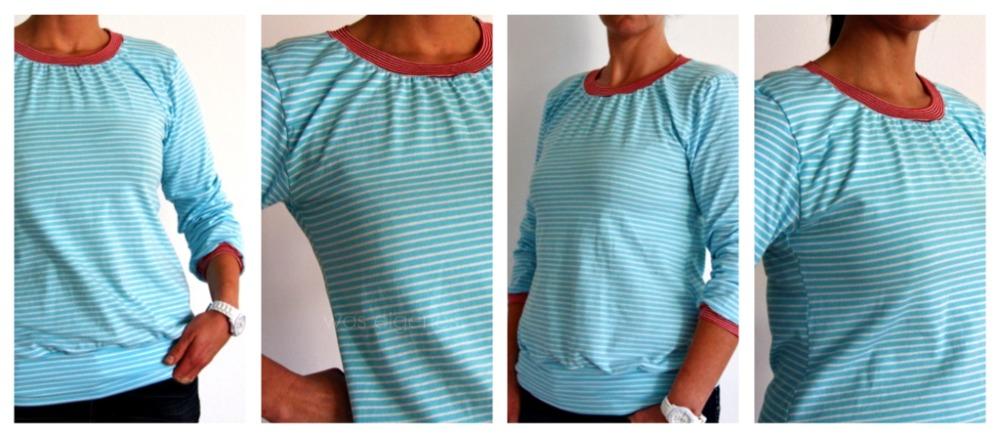 Joana Shirt tuerkis rot| selbst genaehtes Shirt | waseigenes.com DIY Blog