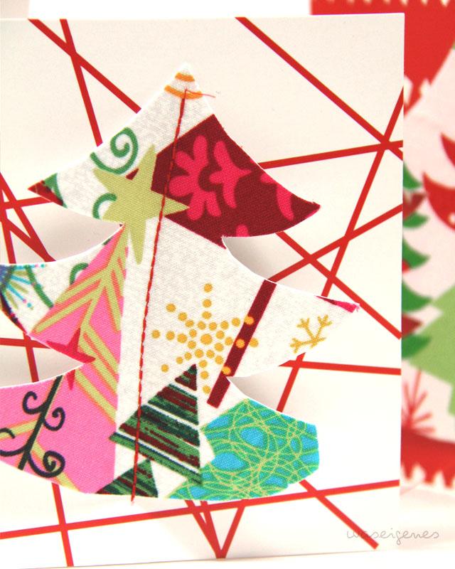 DIY Weihnachtskärtchen aus Klappkarten und Stoff basteln | Weihnachtskarten | Basteln zu Weihnachten | waseigenes.com DIY Blog