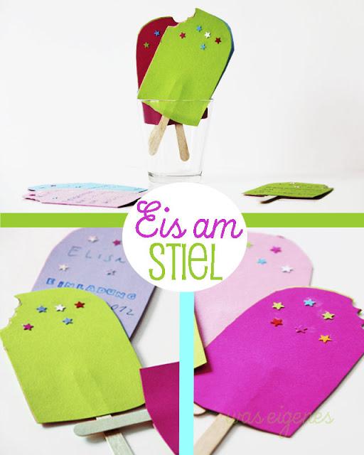 Geburtstagseinladung: Eis am Stiel | Basteln mit Kindern | Eis am Stiel aus Papier | DIY Kindergeburtstag | waseigenes.com