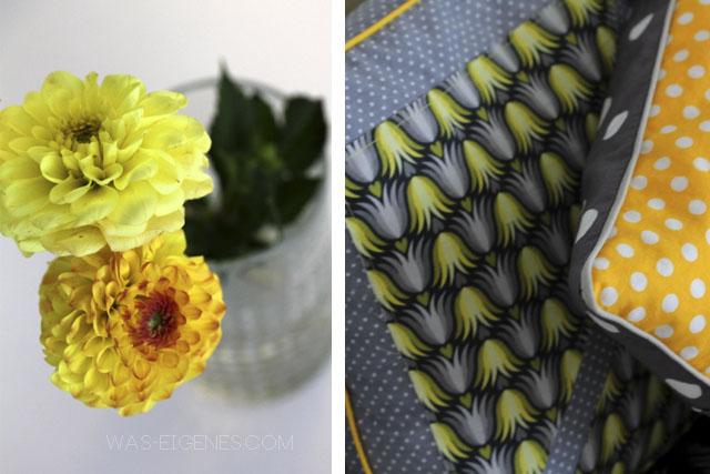 DIY Wohnzimmerkissen | Kissenhüllen selbernähen | gelb grau und schwarz | waseigenes.com