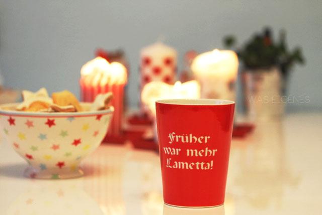 Weihnachtsgruss | Früher war mehr Lametta Tasse | waseigenes.com