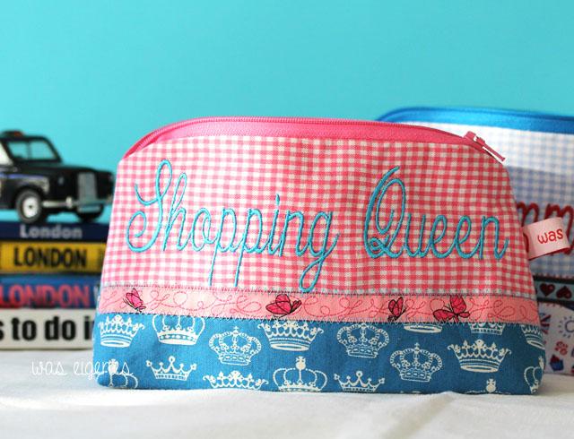 DIY Schminktäschchen | Bestickt mit Weltenbummlerin | London, Paris und New York Stoff |waseigenes.com DIY Blog & Dawanda Shop