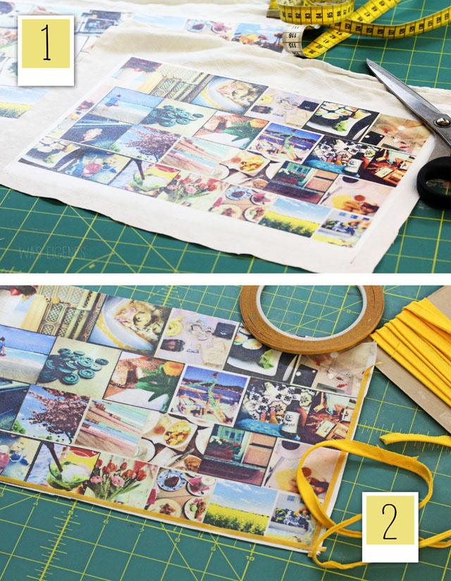 DIY Idee - Instagram Clutch. Bilder aus dem eigenen Instagram Feed drucken, auf Stoff aufbügeln und daraus eine Tasche nähen | waseigenes.com