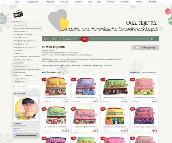 was eigenes Schminktäschchen Weihnachtsrabatt Dawanda Shop | waseigenes.com