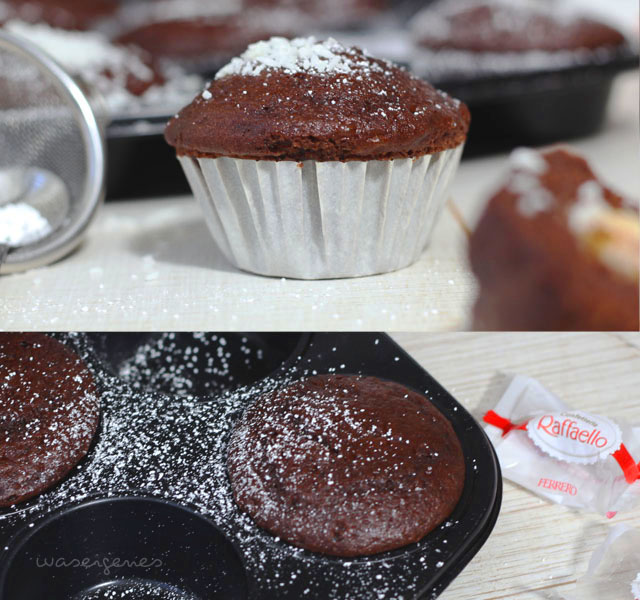 Rezept Schokomuffins mit Raffaello | Einfach, lecker & schnell: Raffaello Muffins | #raffaellomuffins #raffaello #muffins #waseigenesrezept