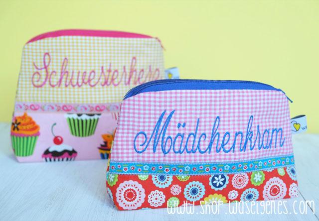 DIY Schminktäschchen von was eigenes | Bestickt mit Schwesterherz & Mädchenkram | waseigenes.com DIY Blog