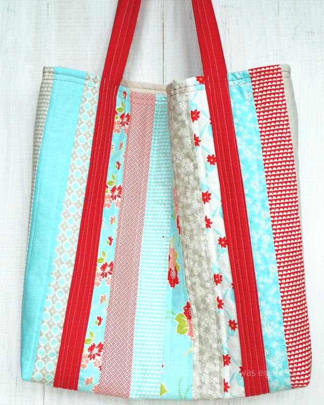 DIY Nähanleitung: Jelly Roll Tasche selber nähen | DIY Beach Bag, Strandtrasche | waseigenes.com DIY Blog