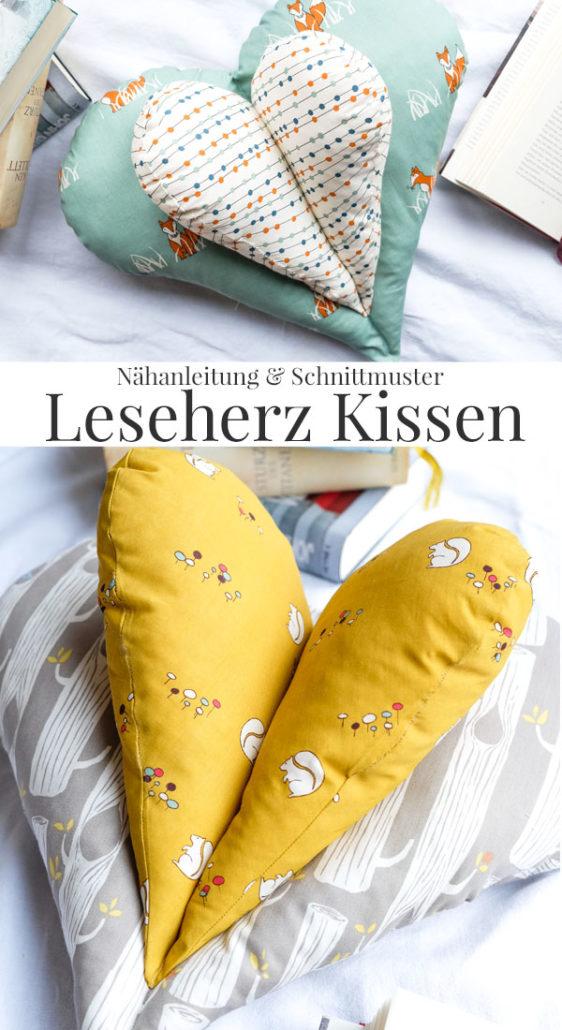Leseherz - praktisches und gemütliches Herzkissen. Die Nähanleitung & den kostenlosen Schnittmuster Download gibt es bei www.waseigenes.com