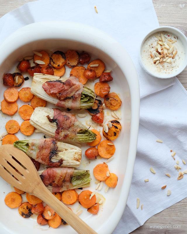 Chicoree im Speckmantel mit Moehren, Tomaten und Mandel-Soja-Joghurt | waseigenes.com 1