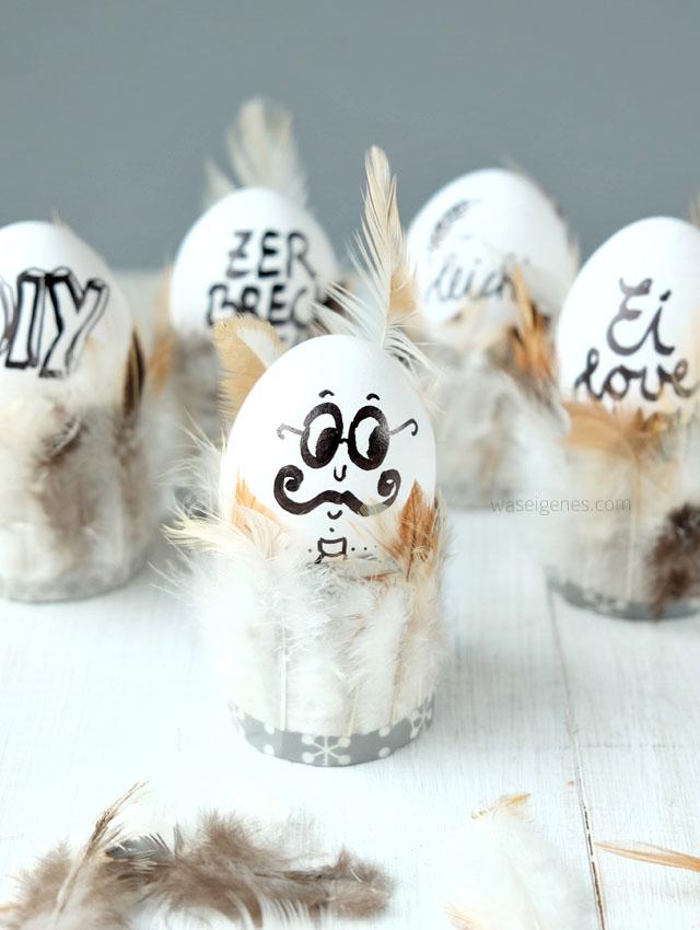 Federleichte Eierbecher | Ostern DIY & Bastelidee | Toilettenpapierrollen mit Federn bekleben | Ei love you | handlettering | Ostereier beschriften | waseigenes.com DIY Blog