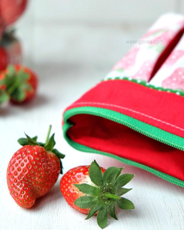 DIY Täschchen mit Kellerfalte | Stoffdruck Erdbeere selber machen | #erdbeeremalanders | waseigenes.com