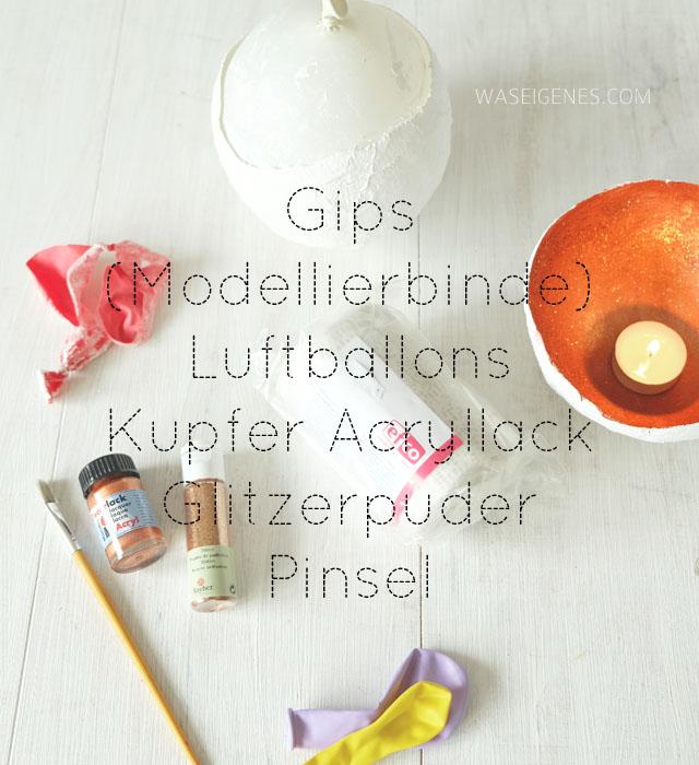DIY Teelichtschale aus Gips und Kupfer | Luftballons, Gips (Modelliermasse), Kupfer Acryllack, Glitzerpuder, Pinsel | waseigenes.com DIY Blog