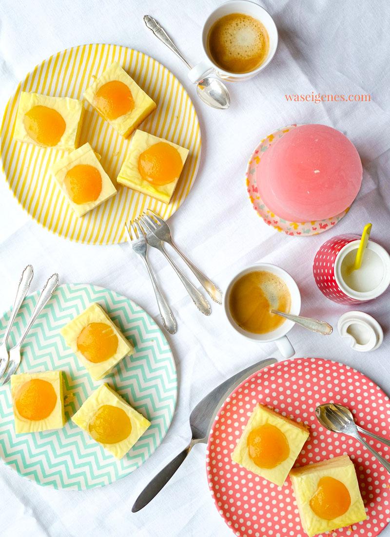 Rezept: Spiegeleierkuchen - Puddingkuchen mit Aprikosenhälften | Blechkuchen | waseigenes.com