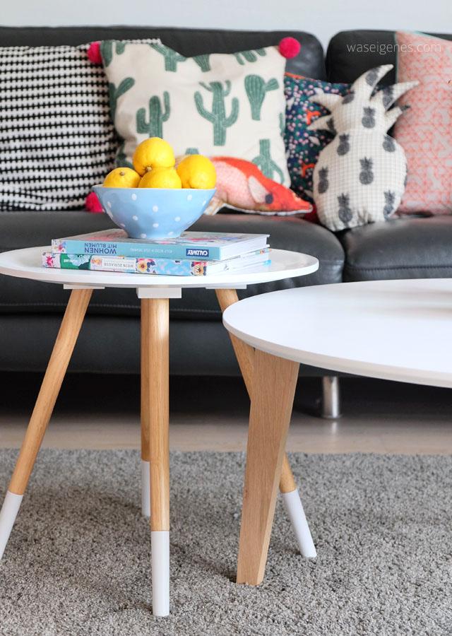 Wohnzimmer makeover | selbst genaehte Kissenbezuege | neue Couchtische | waseigenes.com 9