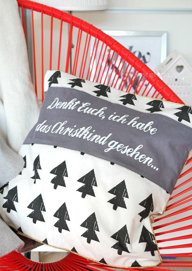 DIY Weihnachtskissen | Denkt Euch ich habe das Christkind gesehen | Plotter Schriftzug | waseigenes.com