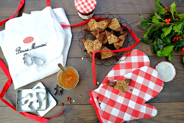 Rezept: Nussecken mit Aprikosenmarmelade | Bonne Maman Konfitüre, Backhandschuhe, Schürze & Keksausstecher | Gewinnspiel | waseigenes.com