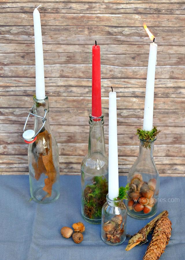 Schnelle Herbstdeko aus Eicheln, Tannenzapfen, Moos, verschiedenen Flaschen und Kerzen | waseigenes.com Blog | November 2016