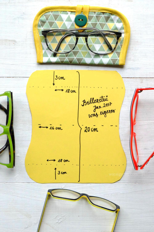 Nähanleitung: Brillenetui | Material: Stoff, Vlieseinlage, Schrägband & Knopf | Schnittmuster | Fotoanleitung auf waseigenes.com