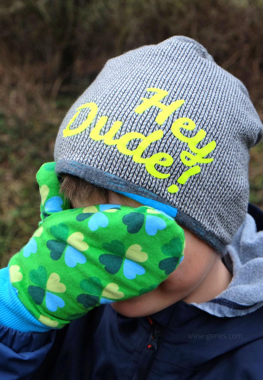 Kinder Fäustlinge selber nähen | Klee Jersey | Beanie aus Strickstoff | Hey Dude | waseigenes.com