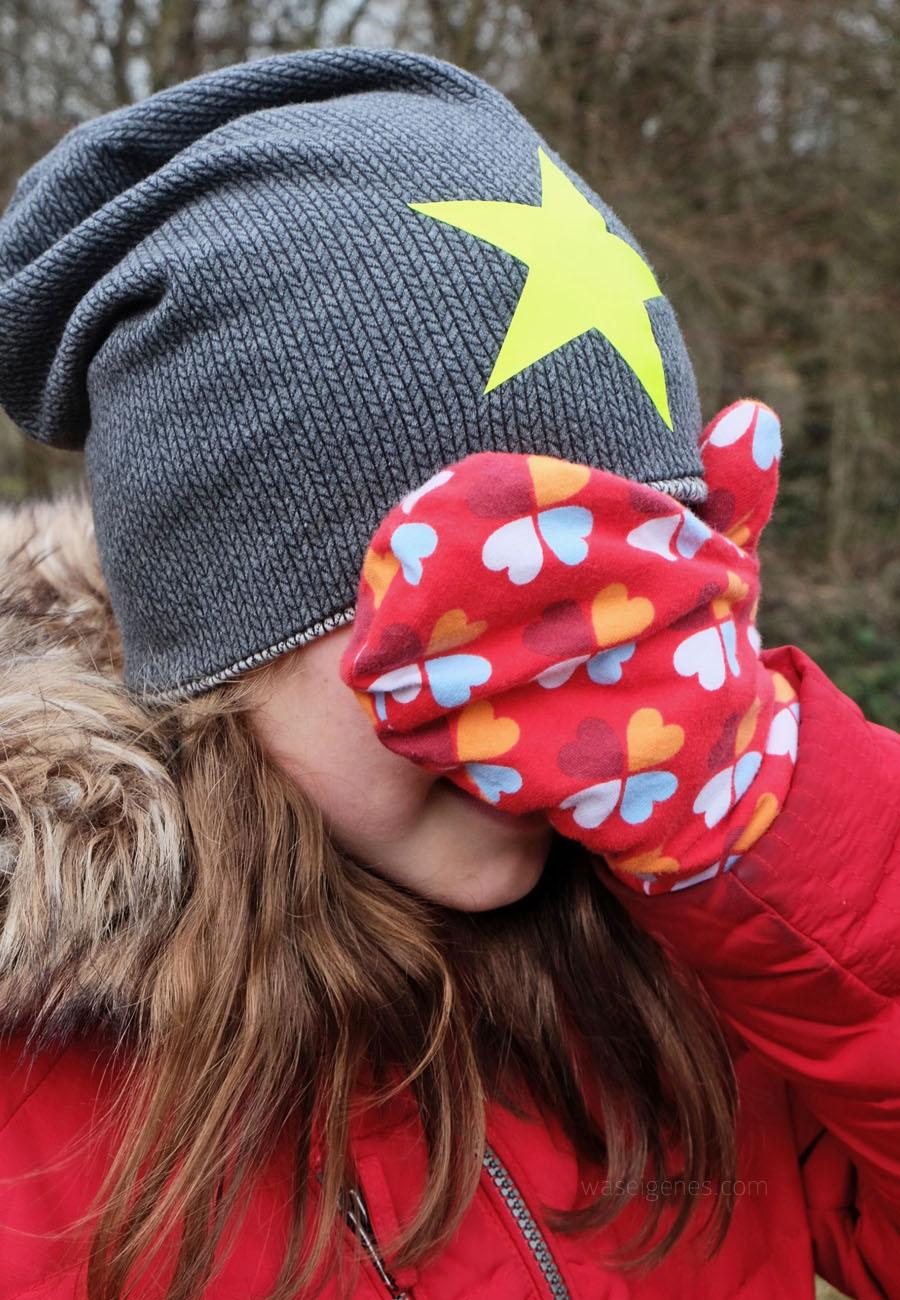 Kinder Fäustlinge selber nähen | Klee Jersey | Beanie aus Strickstoff | geplotteter Stern | waseigenes.com
