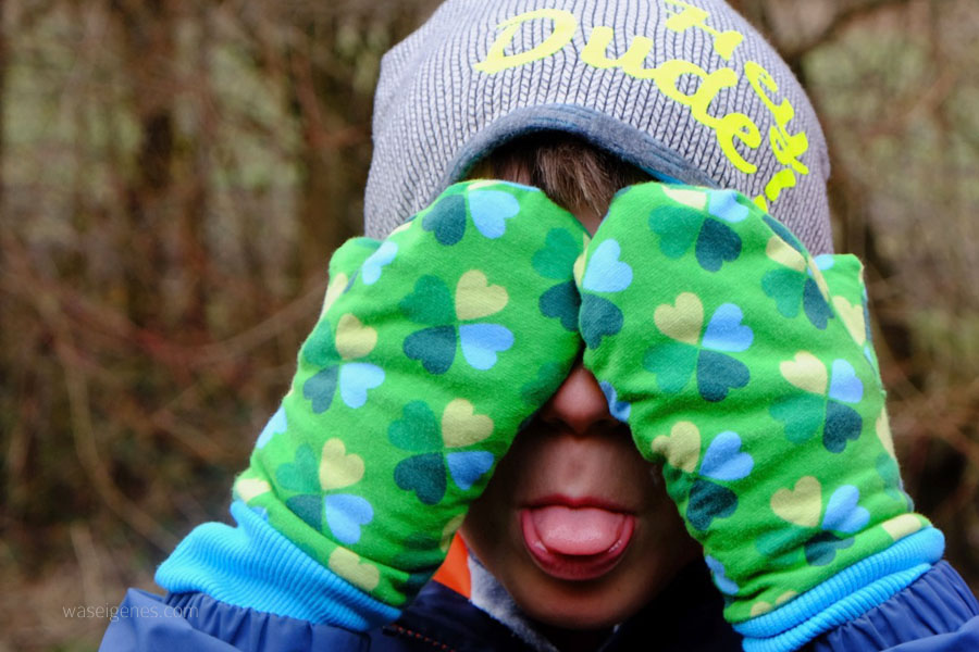 Kinder Fäustlinge selber nähen | Klee Jersey | Beanie aus Strickstoff | waseigenes.com