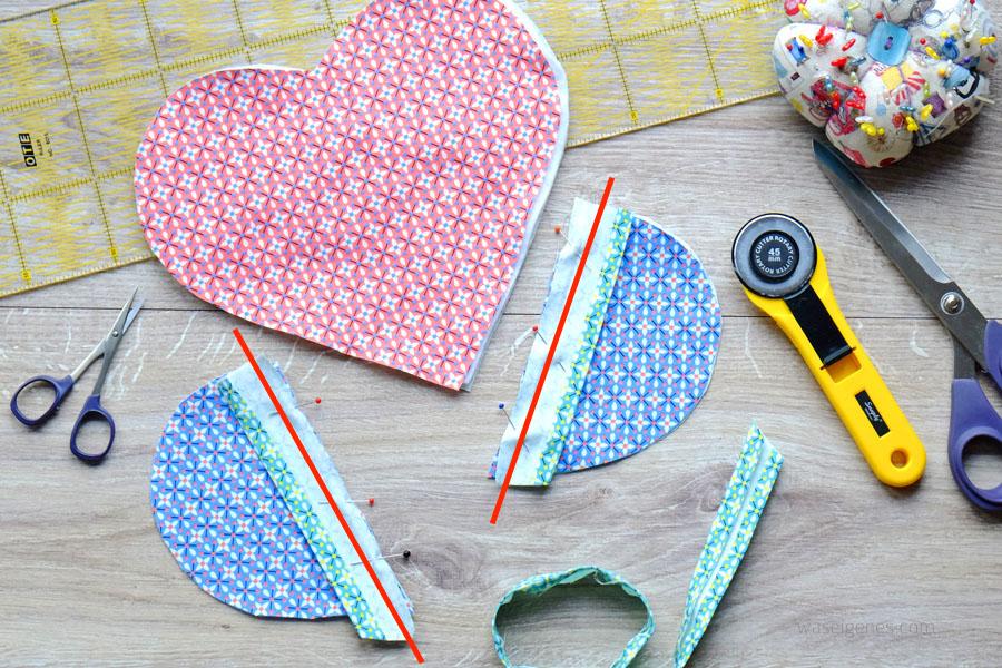 Hübsche Geschenkidee zum Valentinstag: Herz Topflappen selber nähen | Schritt für Schritt Nähanleitung | Schrägband selber machen | waseigenes.com DIY Blog