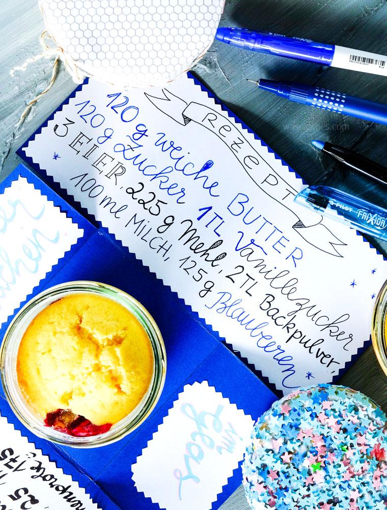 Rezept: Blaubeerkuchen im Glas | Explosionskarte | Geschenkbox | waseigenes.com