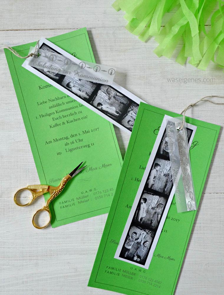Kreative Einladung zur Kommunion selber basteln | Kommunion Einladung, Einladung mit Fotos | waseigenes.com #kommunion #einladung #fotostreifen