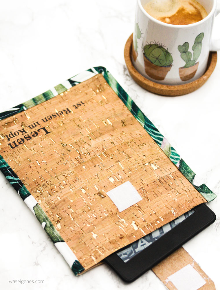 DIY Kindle Hülle aus Korkstoff mit selbst genähtem Schrägband | waseigenes.com DIY Blog