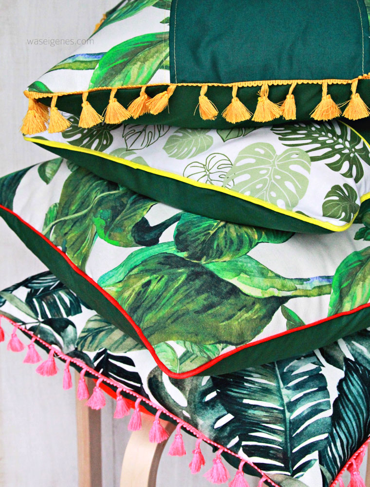 DIY Kissenbezug nähen | Palmenprint | Boho Quasten | urban jungle trend | waseigenes.com