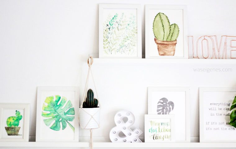 Aquarell Kaktus Monstera Gräser | watercolor | urban jungle | waseigenes.com