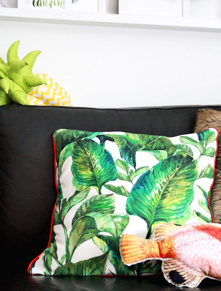 DIY Kissenbezug nähen | Palmenprint | Paspel | urban jungle trend | waseigenes.com