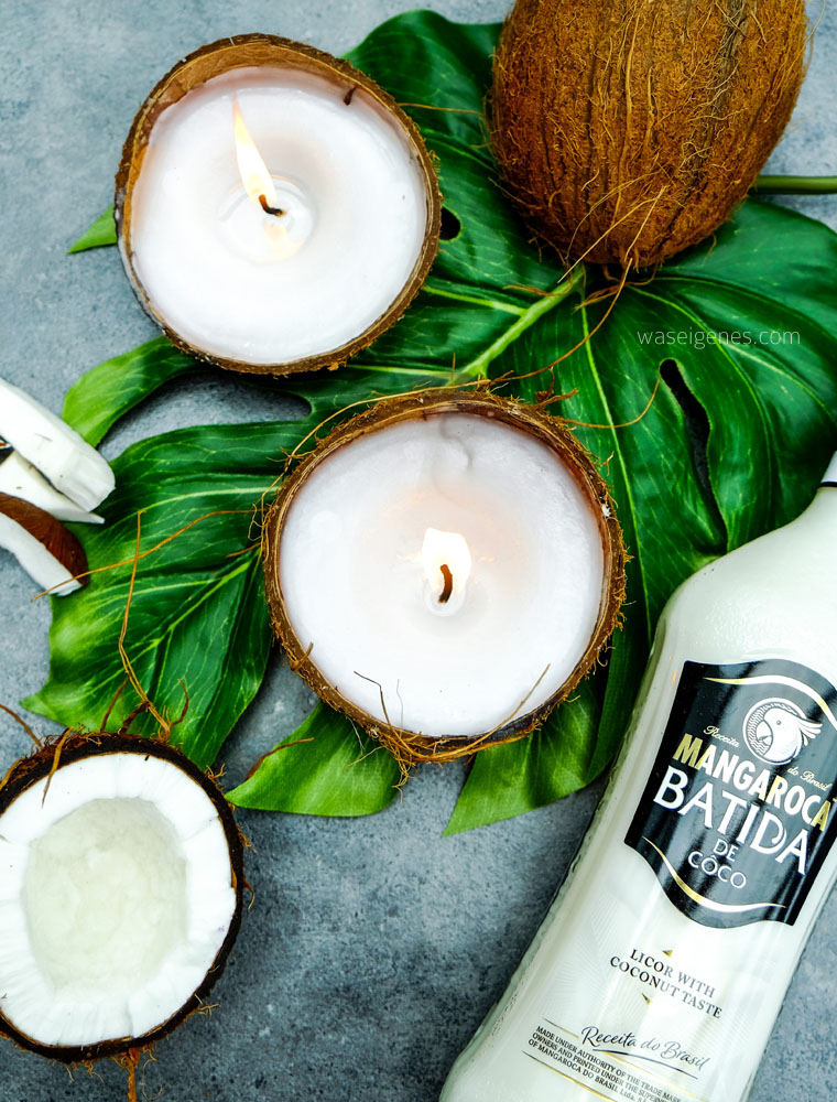 DIY Kokosnuss Kerzen, Kerzen gießen, Kerzen selber machen, Kokosnussschalen basteln, Duftkerzen selber machen, waseigenes.com | #kokosnusskerzen #kerzenselbermachen #kokosnussschalenbasteln