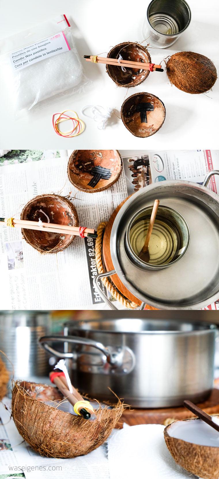 DIY Kokosnuss Kerzen | Kerzen gießen | Anleitung Kerzen selber machen | waseigenes.com