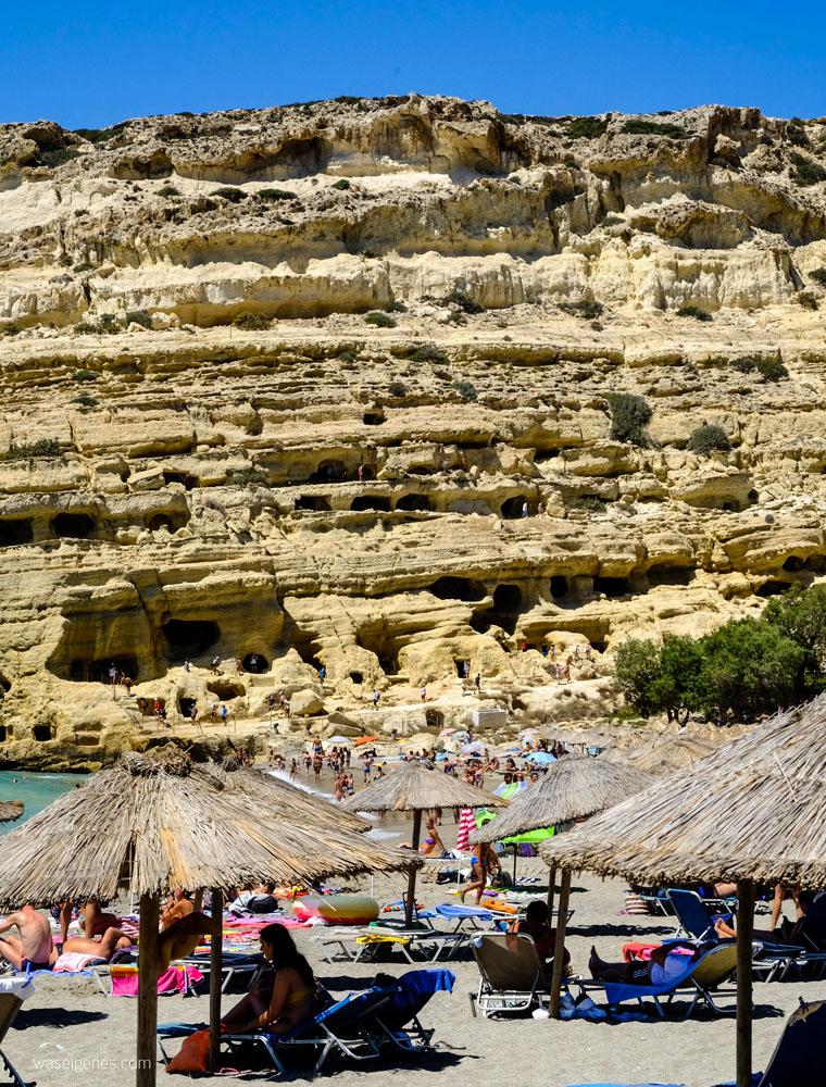 Kreta: Hippie Dorf Matala | Wohnhöhlen | Grabhöhlen | waseigenes.com