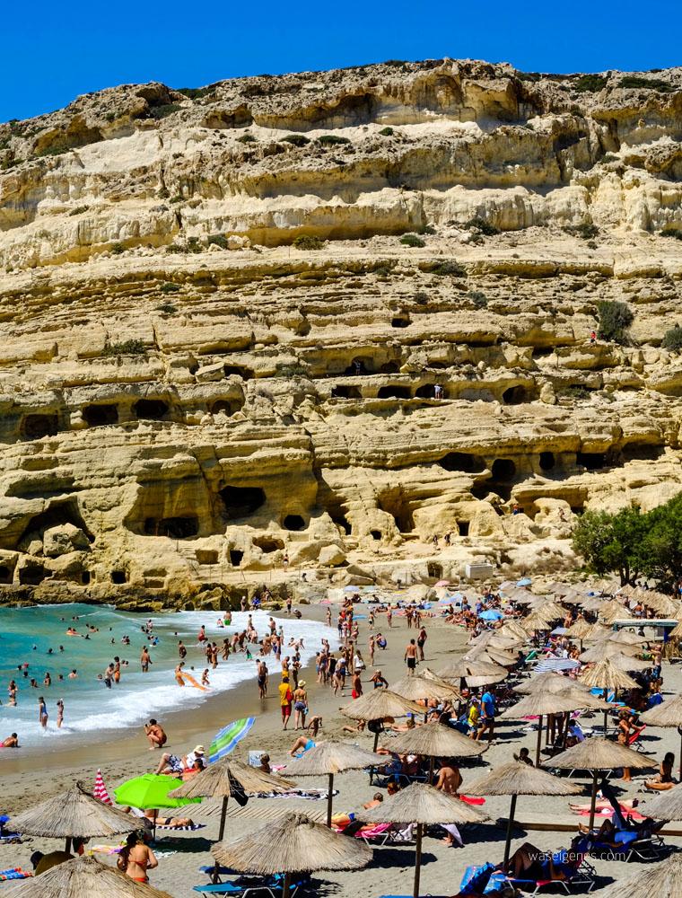 Kreta: Hippie Dorf Matala | Strand | Wohnhöhlen | Grabhöhlen | waseigenes.com