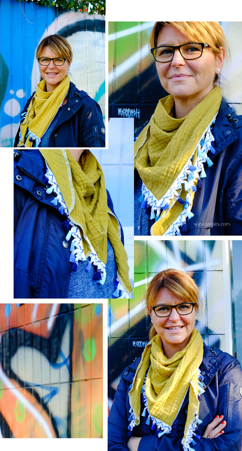 Selbst genähtes, hippes Musselin Halstuch mit blauer Quasten Borte | waseigenes.com DIY Blog