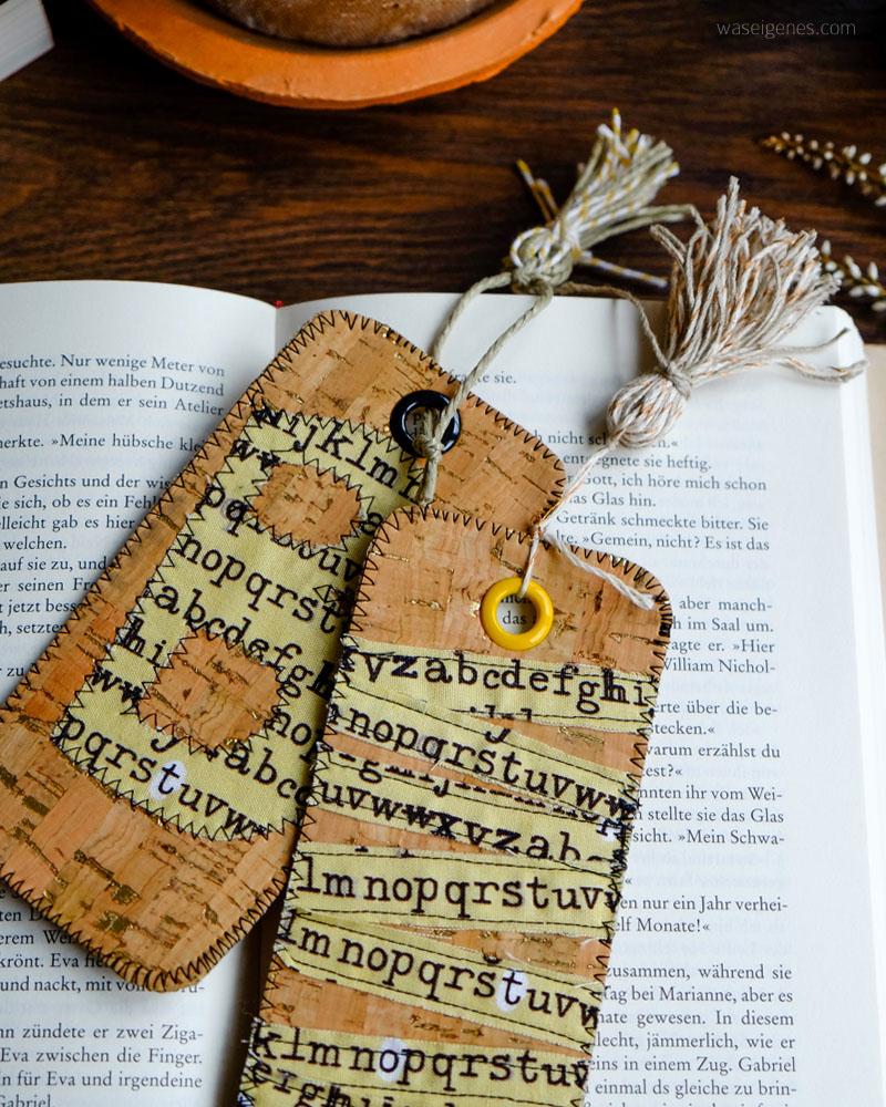 DIY Lesezeichen aus Korkstoff mit Stoffapplikationen und Tassel | waseigenes.com DIY Blog