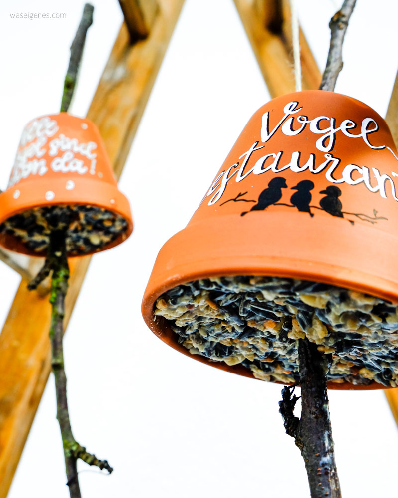 DIY Vogelrestaurant | aus Terracotta Töpfen, Vogelfutter, Kokosfett, einem Ast und einer Kordel eine Vogelfutter-Station basteln | waseigenes.com DIY Blog