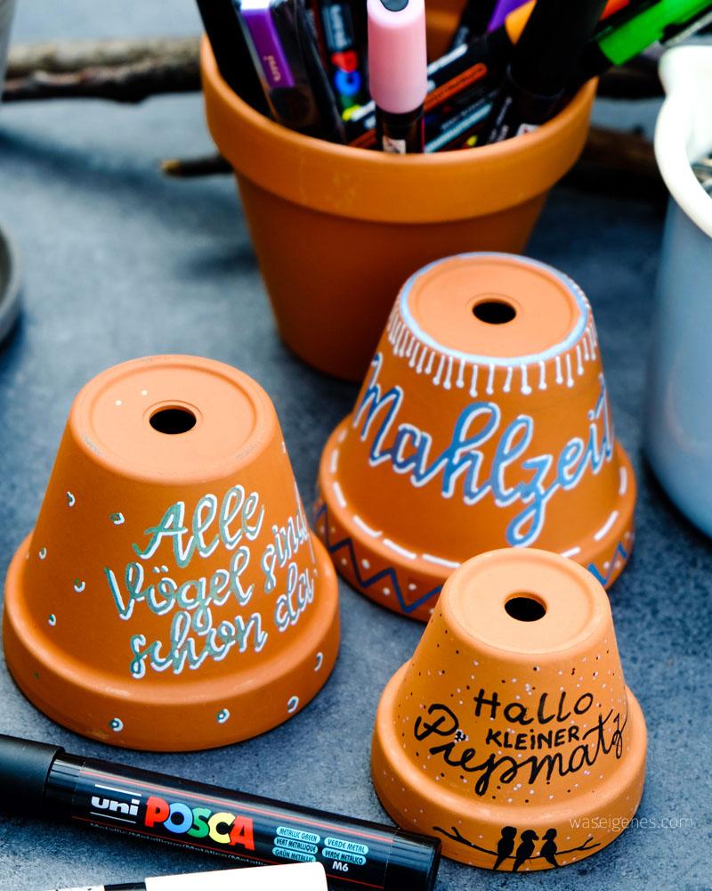 DIY Vogel Restaurant | Terracotta Topf | handlettering - Hallo kleiner Piepmatz | kreative Ideen mit POSCA Stifte | waseigenes.com DIY Blog