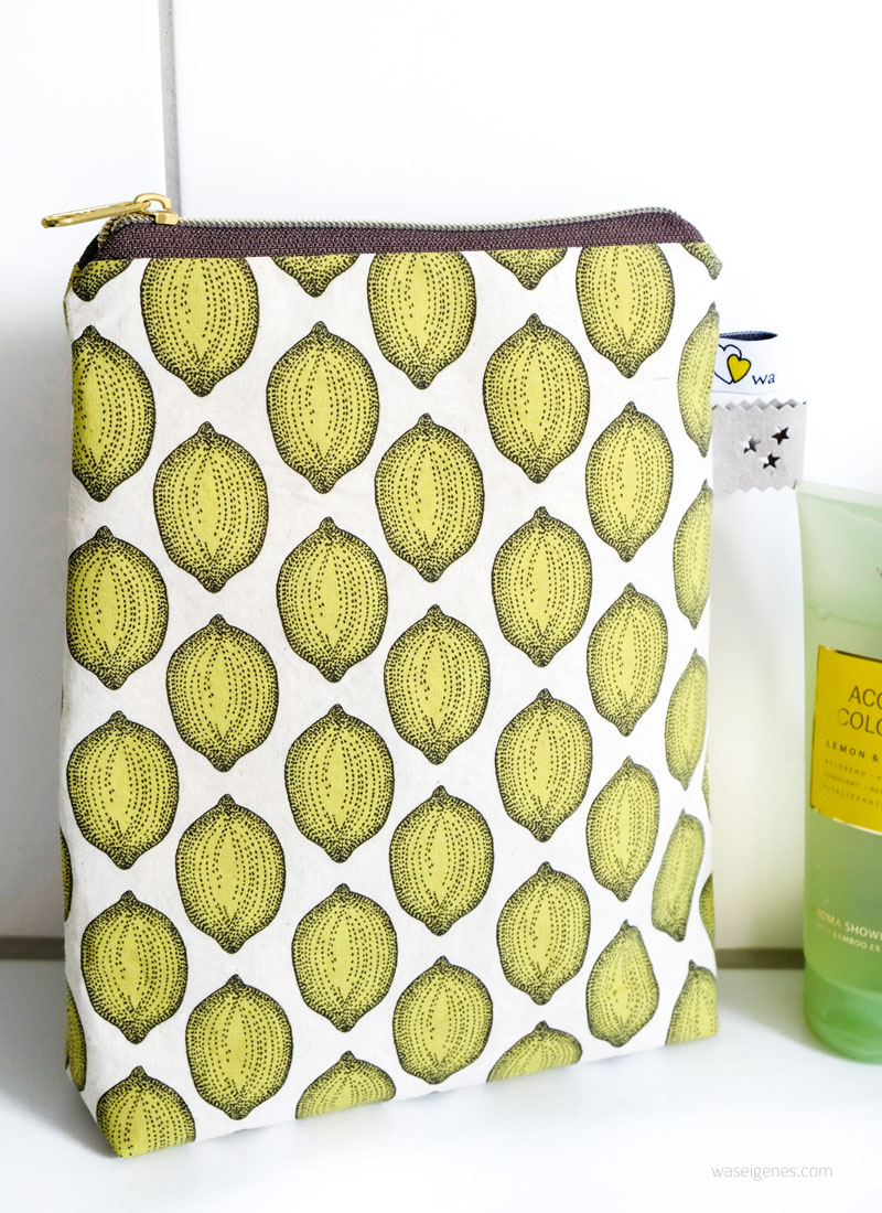 Nähanleitung Shampoo Täschchen | mit Duschvorhangstoff gefüttert | kostenloses Schnittmuster | waseigenes.com DIY Blog