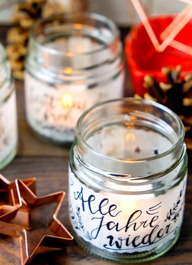 DIY Teelichtgläser: Alle Jahre wieder | Marmeladenglas, Transparentpapier, Feder & Tinte | waseigenes.com