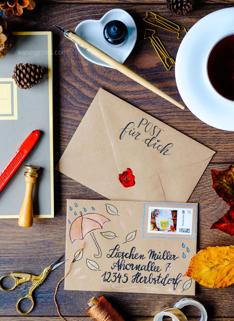 Weihnachtspost | Weihnachtsbriefe | DIY Briefumschläge schreiben und gestalten | Briefe an den Weihnachtsmann | Kalligrafie und Handlettering | Briefmarke individuell | waseigenes.com DIY Blog