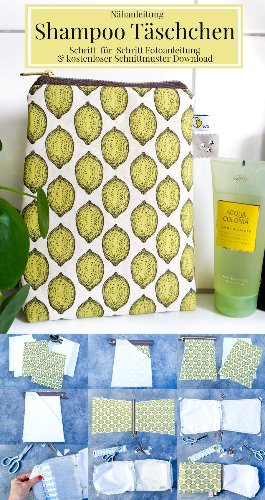 Nähanleitung Shampoo Täschchen | Schritt für Schritt Fotoanleitung | Tasche für Shampoo & Duschgel selber nähen | waseigenes.com DIY Blog