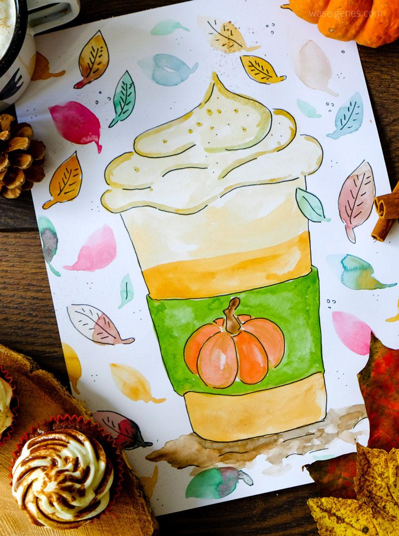 Aquarell Pumpkin Spice Latte | #bineaquarelliert | waseigenes.com DIY Blog